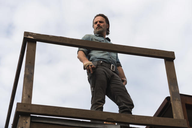 <p>Yes, he can fight and he can be heroic, but wow is Rick a terrible leader! Seriously, we've lost track of all the many bad decisions he's made, but at the top of the list is triggering this war with Negan and the Saviors, which got Glenn and Abraham killed.<br><br>(Photo: AMC) </p>