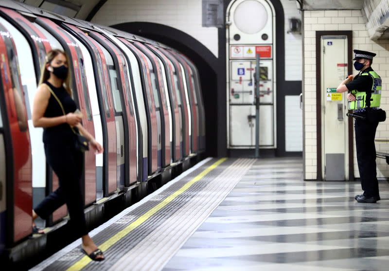 FILE PHOTO: Morning rush hour at Waterloo station in London