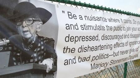 A quote by Marjory Stoneman Douglas, a Florida activist and environmentalist for who the Florida high school is named after, where 17 were slain last month during the worst school shooting in U.S. history, is on display in Parkland, Florida, U.S., in this still image from video on March 18, 2018. Picture taken on March 18, 2018.  REUTERS/Jillian Kitchener