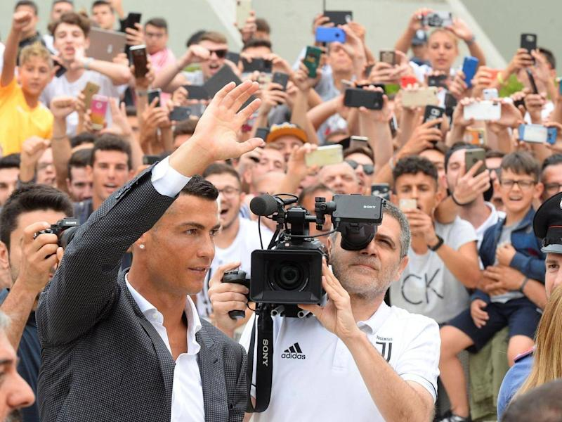 Cristiano Ronaldo was unveiled in Turin on Monday (Reuters)