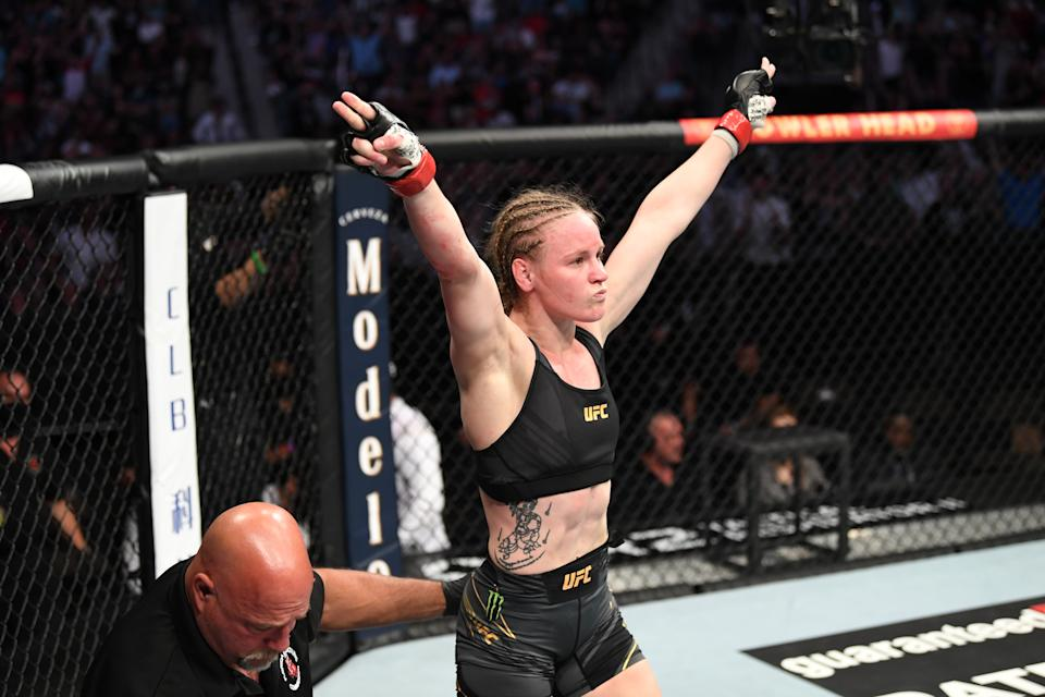 JACKSONVILLE, FLORIDA - APRIL 24: Valentina Shevchenko of Kyrgyzstan reacts after defeating Jessica Andrade of Brazil in their UFC women's flyweight championship bout during the UFC 261 event at VyStar Veterans Memorial Arena on April 24, 2021 in Jacksonville, Florida. (Photo by Josh Hedges/Zuffa LLC)