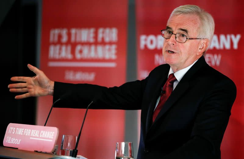 Evidence suggests health is on table in UK-U.S.trade talks - Labour's McDonnell