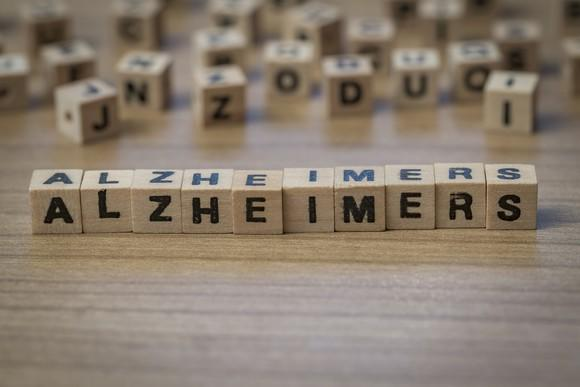 Alzheimer's spelled out in wooden cubes