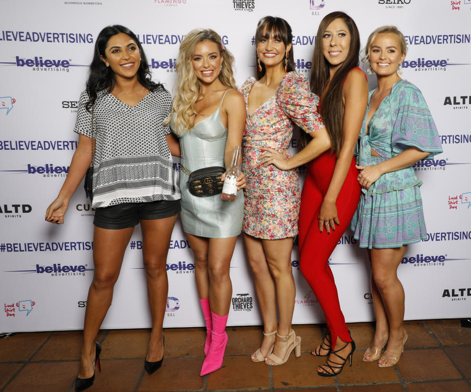 A photo of The Bachelor Australia stars Nikki Ferris with Sogand Mohtat, Monique Morley, Emma Roche and Elly Miles.