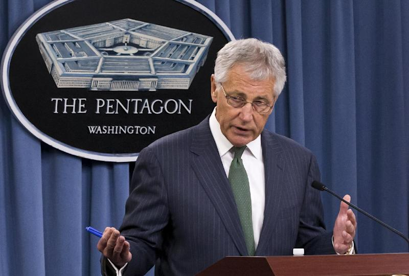 In this May 2, 2013, photo, Secretary of Defense Chuck Hagel speaks at the Pentagon in Washington. Hagel is demanding details of turmoil at a North Dakota military base after revelations that an unprecedented 17 officers were removed from their duty of standing 24-hour watch over the Air Force's most powerful nuclear missiles. (AP Photo/J. Scott Applewhite)