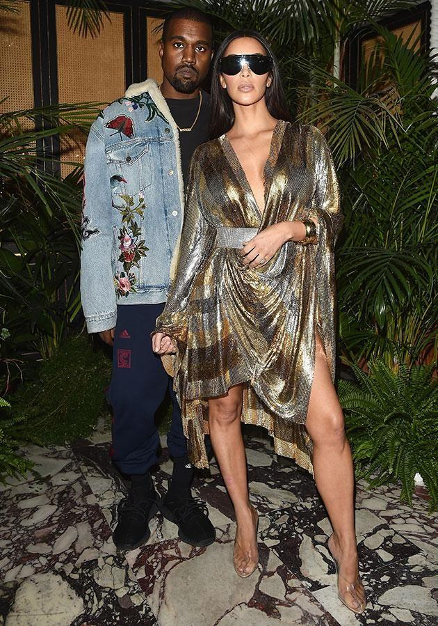 Kim, pictured today at Paris Fashion Week, says she was just trying to stand by her man. Source: Getty