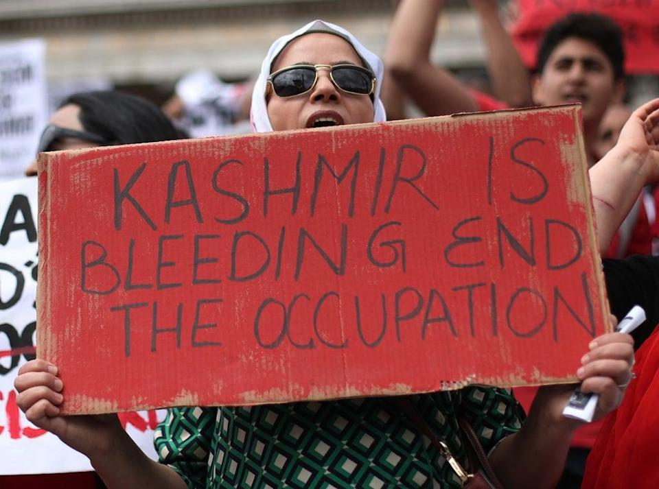 Demonstrators during a Freedom For Kashmir protest against the Indian government (PA) (PA Archive)