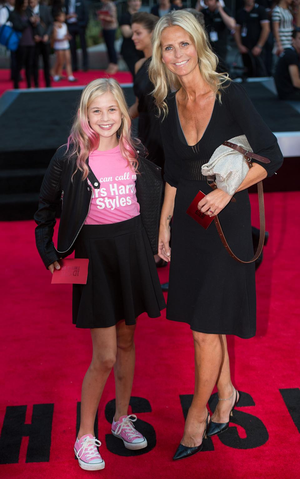 LONDON, UNITED KINGDOM - AUGUST 20:    Ulrika Jonsson and daughter Bo Eva Coeur Jonsson attend the World Premiere of 'One Direction: This Is Us' at Empire Leicester Square on August 20, 2013 in London, England. (Photo by Samir Hussein/WireImage)