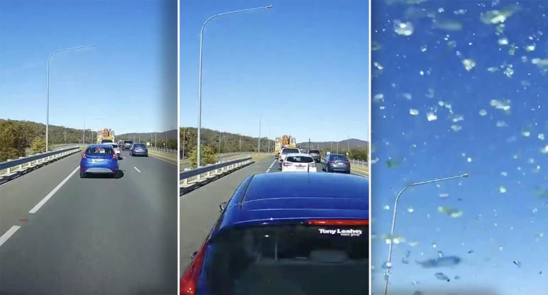 A series of images from the driver's dashcam showing the car's approach to the stationary vehicle.