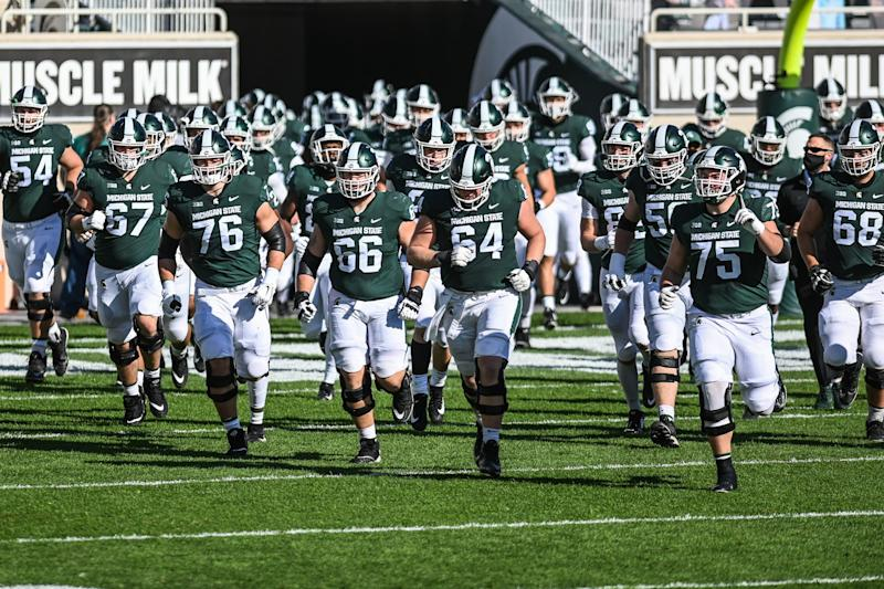 Michigan State takes the field before the game against Rutgers on Saturday, Oct. 24, 2020, at Spartan Stadium in East Lansing.