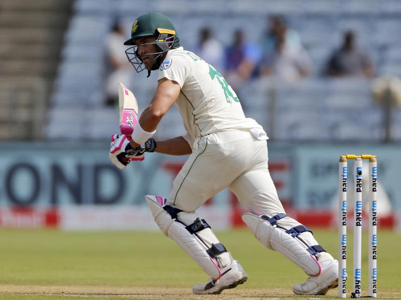South African cricketer Faf du Plessis bats during the third day of the second cricket test match between India and South Africa in Pune, India, Saturday, Oct. 12, 2019. (AP Photo/Rajanish Kakade)