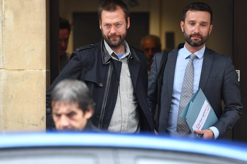 Ex-Kasabian singer Tom Meighan (left) leaving Leicester Magistrates' Court where he was sentenced to carry out 200 hours of unpaid work for assaulting former fiancee Vikki Ager.