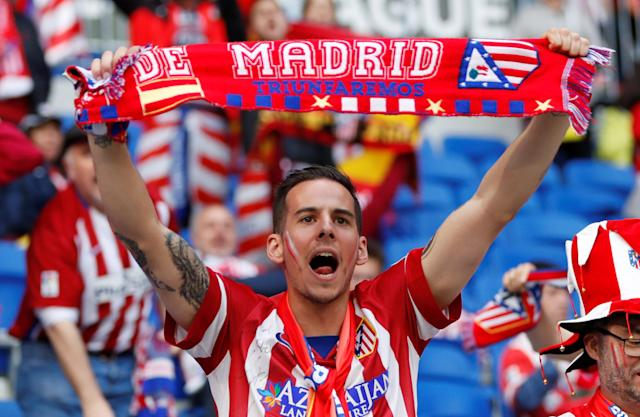 Soccer Football - Europa League Final - Olympique de Marseille vs Atletico Madrid - Groupama Stadium, Lyon, France - May 16, 2018 Atletico Madrid fan before the match REUTERS/Gonzalo Fuentes