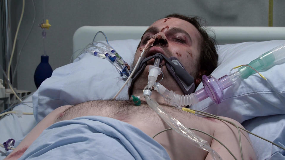 FROM ITVSTRICT EMBARGO - No Use Before 0001 Wednesday May 5th 2021Coronation Street Wednesday 5th May 2021Seb Franklin [HARRY VISINONI] in hospital with Abi Franklin [SALLY CARMAN]Picture contact David.crook@itv.com This photograph is (C) ITV Plc and can only be reproduced for editorial purposes directly in connection with the programme or event mentioned above, or ITV plc. Once made available by ITV plc Picture Desk, this photograph can be reproduced once only up until the transmission [TX] date and no reproduction fee will be charged. Any subsequent usage may incur a fee. This photograph must not be manipulated [excluding basic cropping] in a manner which alters the visual appearance of the person photographed deemed detrimental or inappropriate by ITV plc Picture Desk. This photograph must not be syndicated to any other company, publication or website, or permanently archived, without the express written permission of ITV Picture Desk. Full Terms and conditions are available on  www.itv.com/presscentre/itvpictures/terms