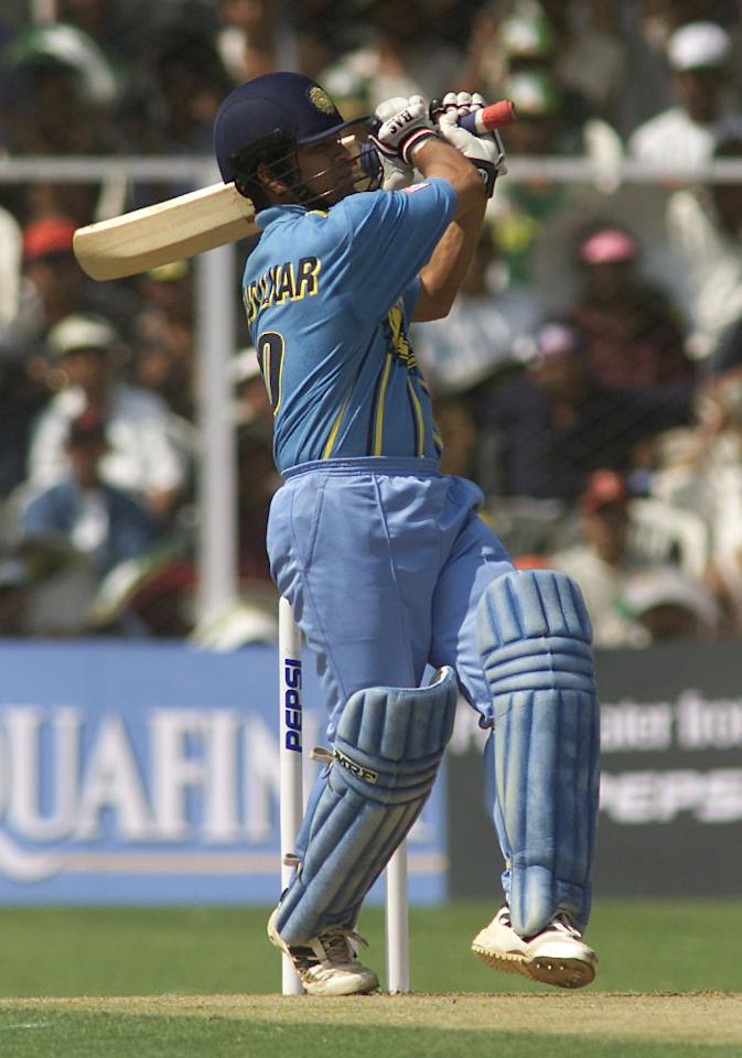 25 Mar 2001:  Sachin Tendulkar of India hits a six during his innings of 35, during the first One Day International match between India and Australia played at Chinnaswamay Stadium, Bangalore, India.  X DIGITAL IMAGE  Mandatory Credit: Hamish Blair/ALLSPORT