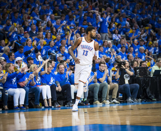 "<a class=""link rapid-noclick-resp"" href=""/nba/players/4725/"" data-ylk=""slk:Paul George"">Paul George</a>, a.k.a. Playoff P, earned plenty of fans in Oklahoma City with his performance in the Thunder's Game 1 win. (Getty)"