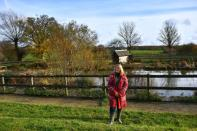 Plumley who runs Future Roots stands on her land in Sherborne