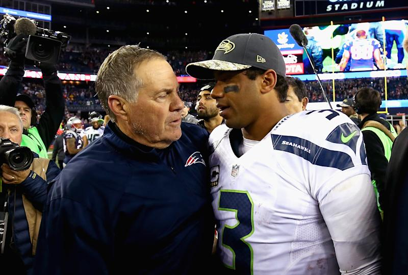 Bill Belichick and Russell Wilson shake hands after a game.