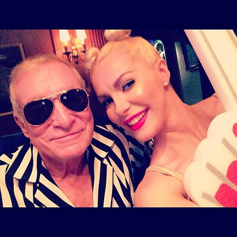 Hugh Hefner, Crystal Harris Dress as Miley Cyrus and Robin Thicke From Their VMas Performance For Halloween: Pictures
