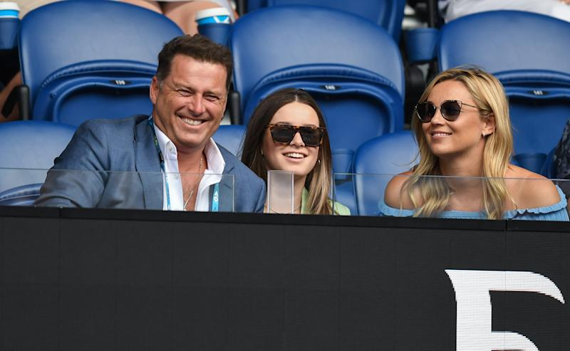 Channel Nine's Today show host Karl Stefanovic, daughter Ava and pregnant Jasmine Yarbrough at the Australian Open