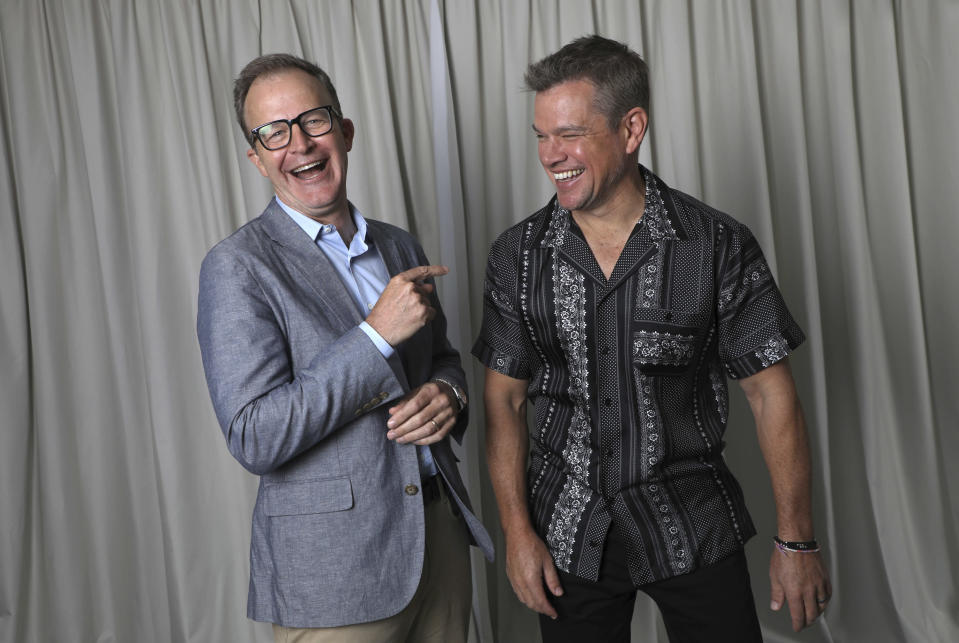FILE - In this July 11, 2021 file photo Director Tom McCarthy, left, and Matt Damon pose for portrait photographs for the film 'Stillwater', at the 74th international film festival, Cannes, southern France. (Photo by Vianney Le Caer/Invision/AP, File)