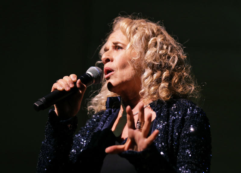 Singer-songwriter Carole King, performs during an event to honor her with the Gershwin Prize for Popular Song, at the Library of Congress, Tuesday, May 21, 2013 in Washington. (AP Photo/Alex Brandon)