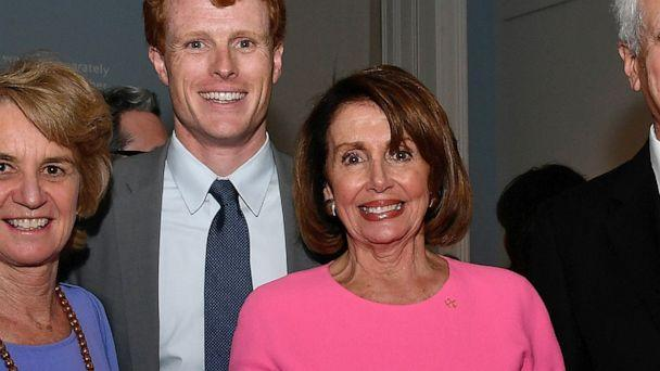 PHOTO: Rep. Joe Kennedy III (D-MA)and House Speaker Nancy Pelosi (D-CA) attend at American Visionary: John F. Kennedy's Life and Times debut gala at Smithsonian American Art Museum, May 2, 2017, in Washington, D.C. (Larry French/Getty Images for WS Productions)
