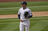 New York Yankees starting pitcher Corey Kluber reacts during the eighth inning of a baseball game against the Detroit Tigers at Yankee Stadium, Sunday, May 2, 2021, in New York. (AP Photo/Seth Wenig)