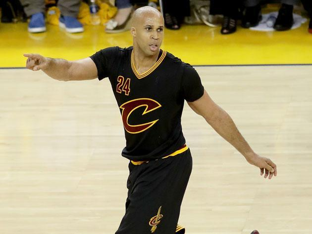 "<a class=""link rapid-noclick-resp"" href=""/nba/players/3523/"" data-ylk=""slk:Richard Jefferson"">Richard Jefferson</a> points with poise. (Getty Images)"