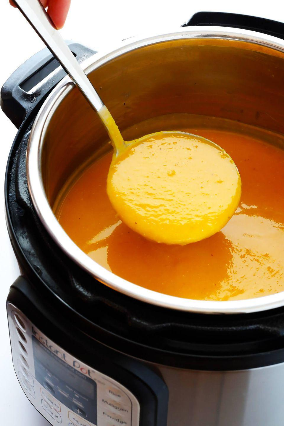 """<p>Perfect for a pre-meal snack, or a tasty appetizer.</p><p>Get the recipe from <a href=""""https://www.gimmesomeoven.com/instant-pot-butternut-squash-soup/"""" rel=""""nofollow noopener"""" target=""""_blank"""" data-ylk=""""slk:Gimme Some Oven"""" class=""""link rapid-noclick-resp"""">Gimme Some Oven</a>.</p>"""