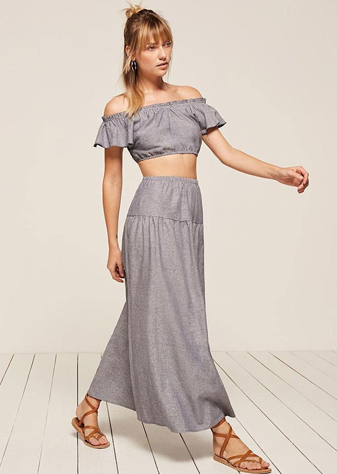 """Reformation Bronte Two Piece, $218; at <a rel=""""nofollow"""" href=""""https://www.thereformation.com/products/bronte-two-piece-donner"""" rel="""""""">Reformation</a>"""