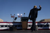 President Donald Trump walks off stage after speaking during a campaign rally at Phoenix Goodyear Airport, Wednesday, Oct. 28, 2020, in Goodyear, Ariz. (AP Photo/Evan Vucci)