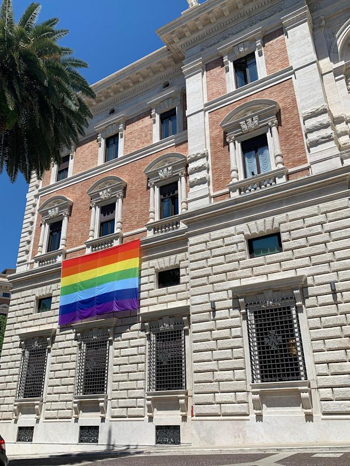 <p>The US embassy at the Vatican flies the Pride flag outside its building </p> (US Embassy at the Holy See/Twitter)
