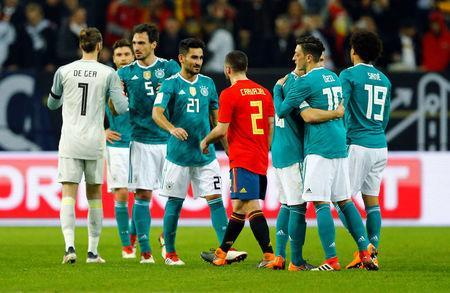 Soccer Football - International Friendly - Germany vs Spain - ESPRIT arena, Dusseldorf, Germany - March 23, 2018 Spain and Germany players shake hands after the match REUTERS/Thilo Schmuelgen