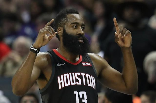 Houston Rockets ace James Harden has scored at least 30 points against every team in the NBA this season (AFP Photo/STREETER LECKA)