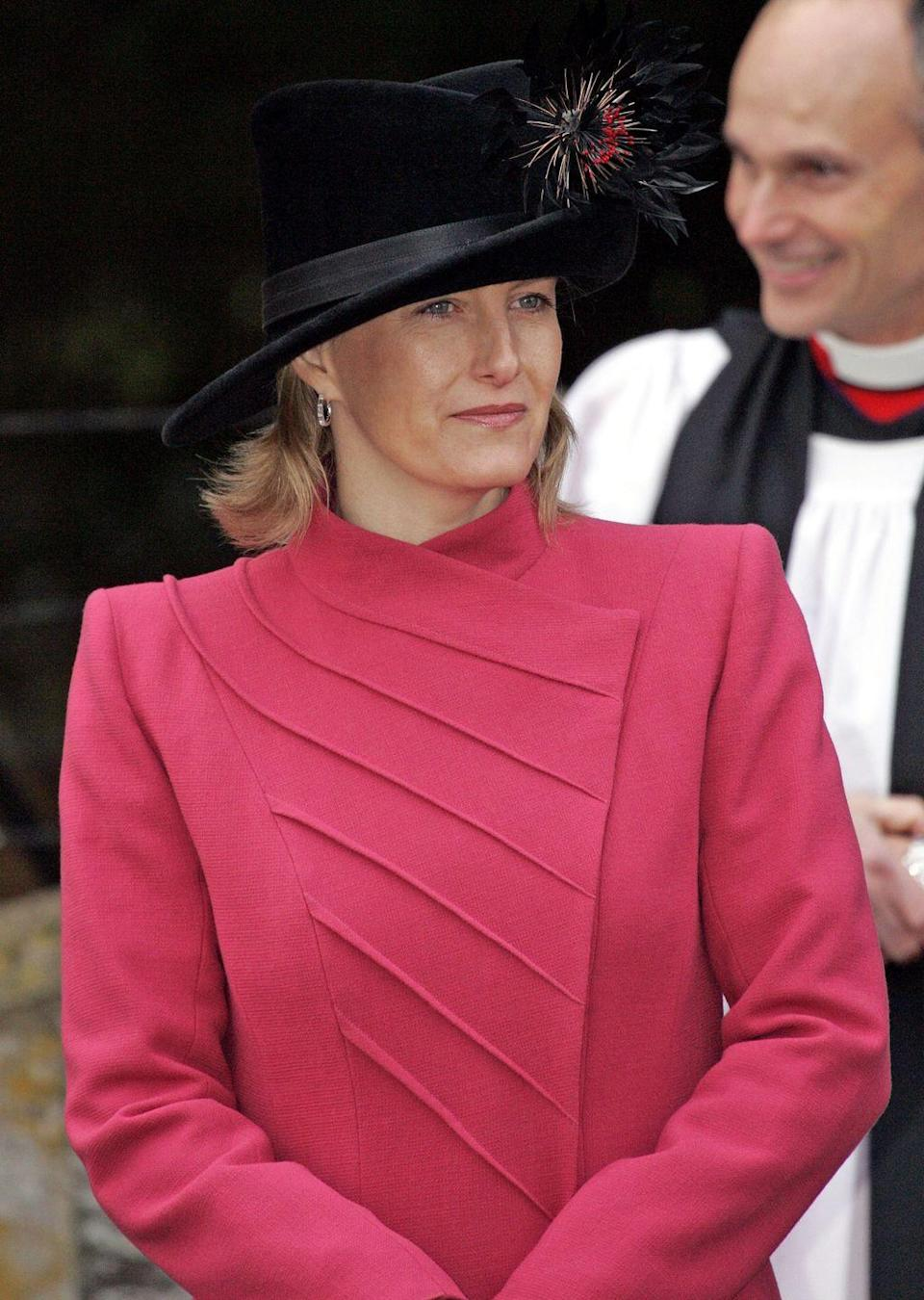 <p>Sophie, Countess Of Wessex, broke with the red-and-green Christmas trend for services on Christmas Day at Sandringham with a crisp strawberry colored coat. </p>