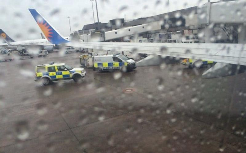 A passenger's photo from inside the Jet2 plane as police attended the incident - Credit: Manchester Evening News