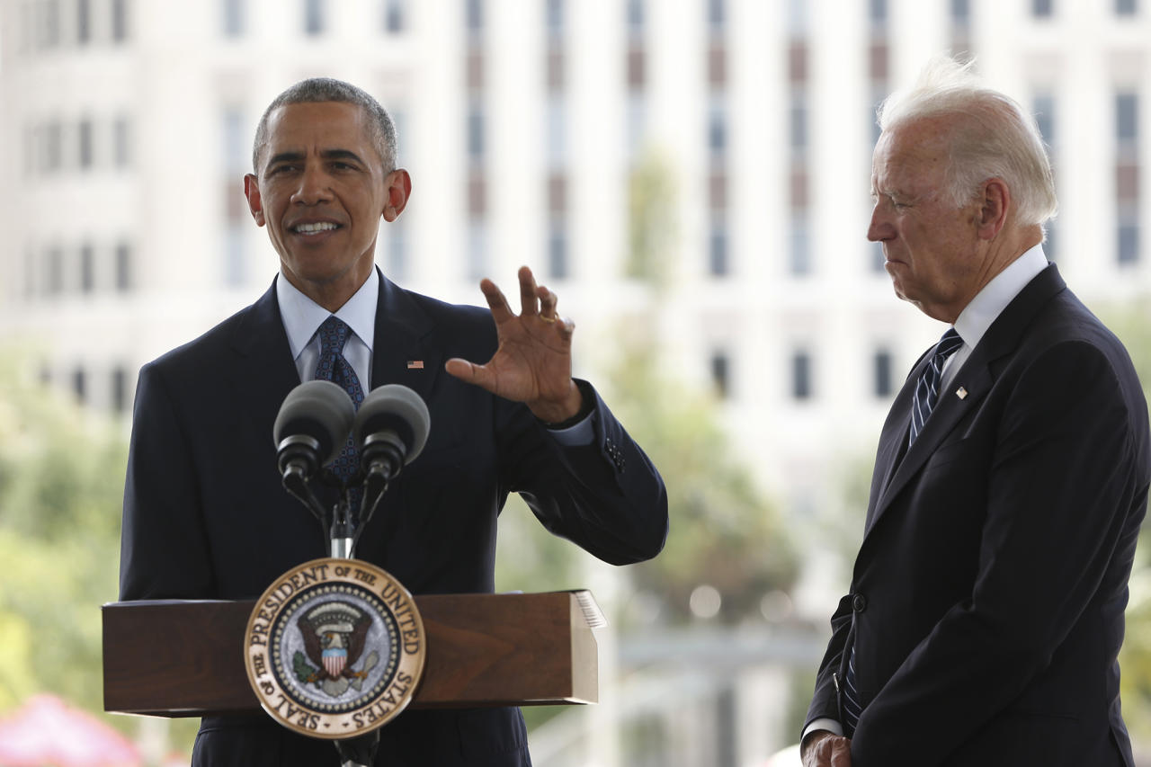 <p>President Obama, accompanied by Vice President Joe Biden, speaks at a memorial in Orlando, Fla., June 16, 2016, in memory of those killed in the shooting at a gay nightclub. (AP/Pablo Martinez Monsivais) </p>