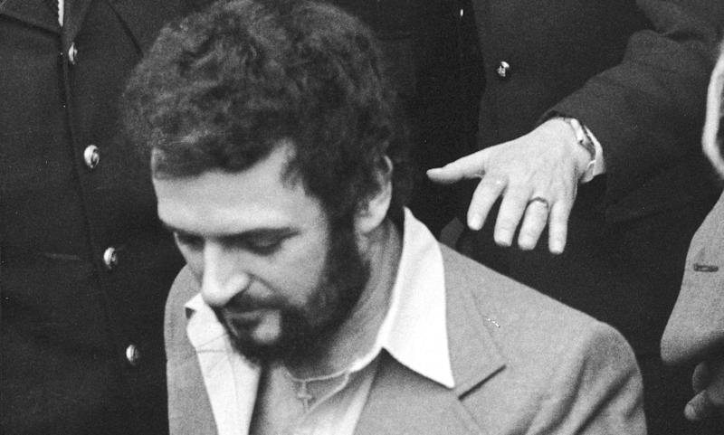 British serial killer Peter Sutcliffe, a.k.a. 'The Yorkshire Ripper,' in police custody, 1983. (Photo by Express Newspapers/Getty Images)