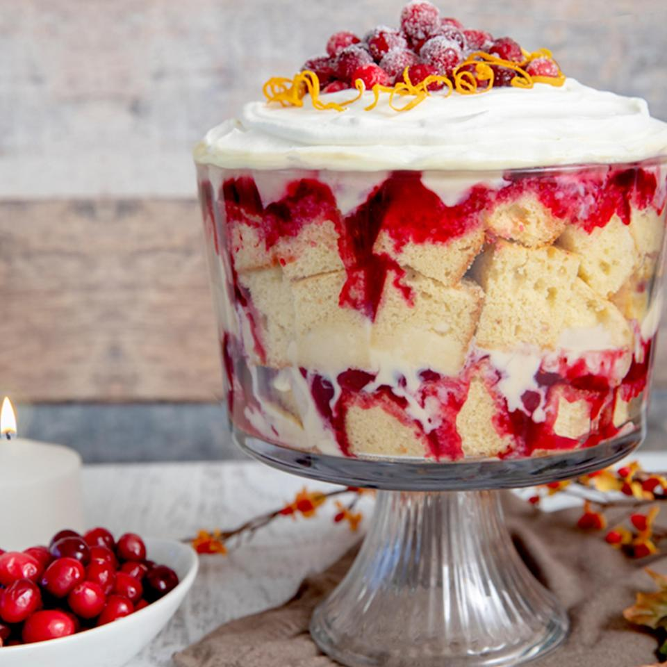"""<p>You won't need <a href=""""https://www.thedailymeal.com/cook/13-things-you-didnt-know-you-could-make-boxed-cake-mix-slideshow?referrer=yahoo&category=beauty_food&include_utm=1&utm_medium=referral&utm_source=yahoo&utm_campaign=feed"""" rel=""""nofollow noopener"""" target=""""_blank"""" data-ylk=""""slk:boxed cake mix"""" class=""""link rapid-noclick-resp"""">boxed cake mix</a> for this cranberry custard trifle — it's all from scratch. For added richness, make the whipped cream topping from scratch too.</p> <p><a href=""""https://www.thedailymeal.com/recipe/cranberry-custard-trifle?referrer=yahoo&category=beauty_food&include_utm=1&utm_medium=referral&utm_source=yahoo&utm_campaign=feed"""" rel=""""nofollow noopener"""" target=""""_blank"""" data-ylk=""""slk:For the Cranberry Custard Trifle recipe, click here."""" class=""""link rapid-noclick-resp"""">For the Cranberry Custard Trifle recipe, click here.</a></p>"""