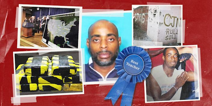 """Photo collage with images of Barney Harris, cartel drugs, a map of cartel presence in the U.S. and a """"Best Teacher"""" award ribbon."""