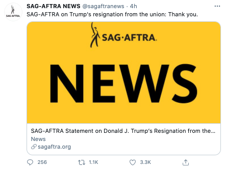SAG-AFTRA had a two-word response to Trump's resignation: 'Thank you.' Photo: Twitter.