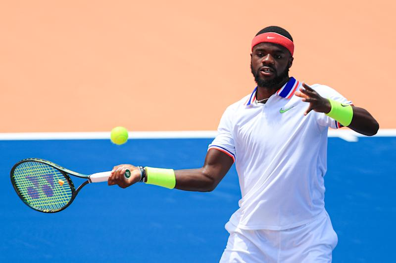 ATLANTA, GA - JULY 3: Frances Tiafoe of the United States returns a ball during the singles match against Sam Querrey of the United States during the DraftKings All-American Team Cup on July 3, 2020 in Atlanta, Georgia. (Photo by Carmen Mandato/Getty Images)