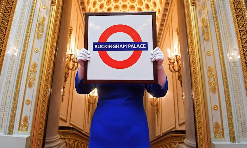 A Buckingham Palace London Underground sign, presented to the Queen.
