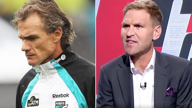 Pictured left is former AFL coach Dean Laidley and Port Adelaide great Kane Cornes on the right.