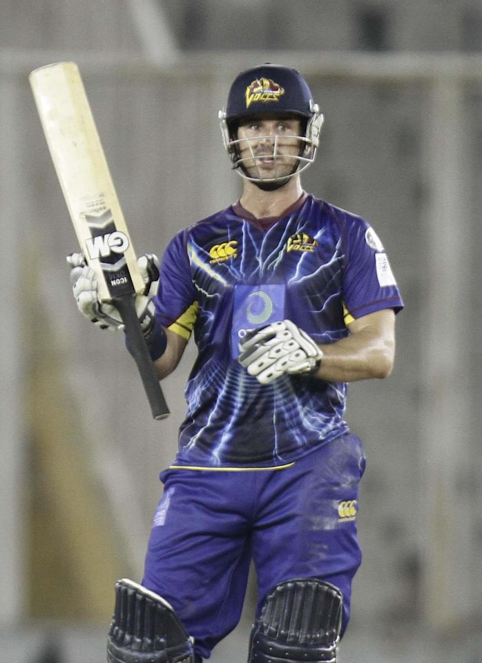 Doeschate in action during the Champions League T20, 3rd match between Kandurata Maroons and Otago Volts at Mohali stadium, Chandigarh on Sept. 18, 2013. (Photo: IANS)