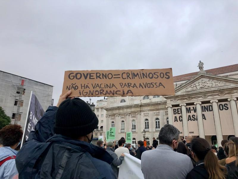 Bar, restaurant and nightclub workers protest against coronavirus measures they say are killing the sector, in Lisbon