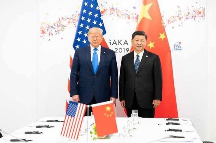 President Donald Trump (left) and President Xi Jingping (right) at the G20 conference in Japan.