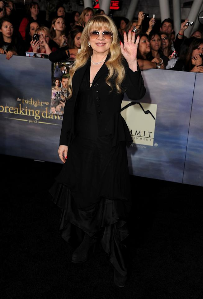 "Stevie Nicks arrives at ""The Twilight Saga: Breaking Dawn - Part 2"" Los Angeles premiere at Nokia Theatre L.A. Live on November 12, 2012 in Los Angeles, California.  (Photo by Steve Granitz/WireImage)"