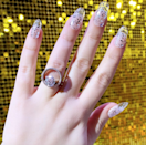 Clear tips? Lots of glitter? Perfect for your next Zoom party? Check, check, and check.